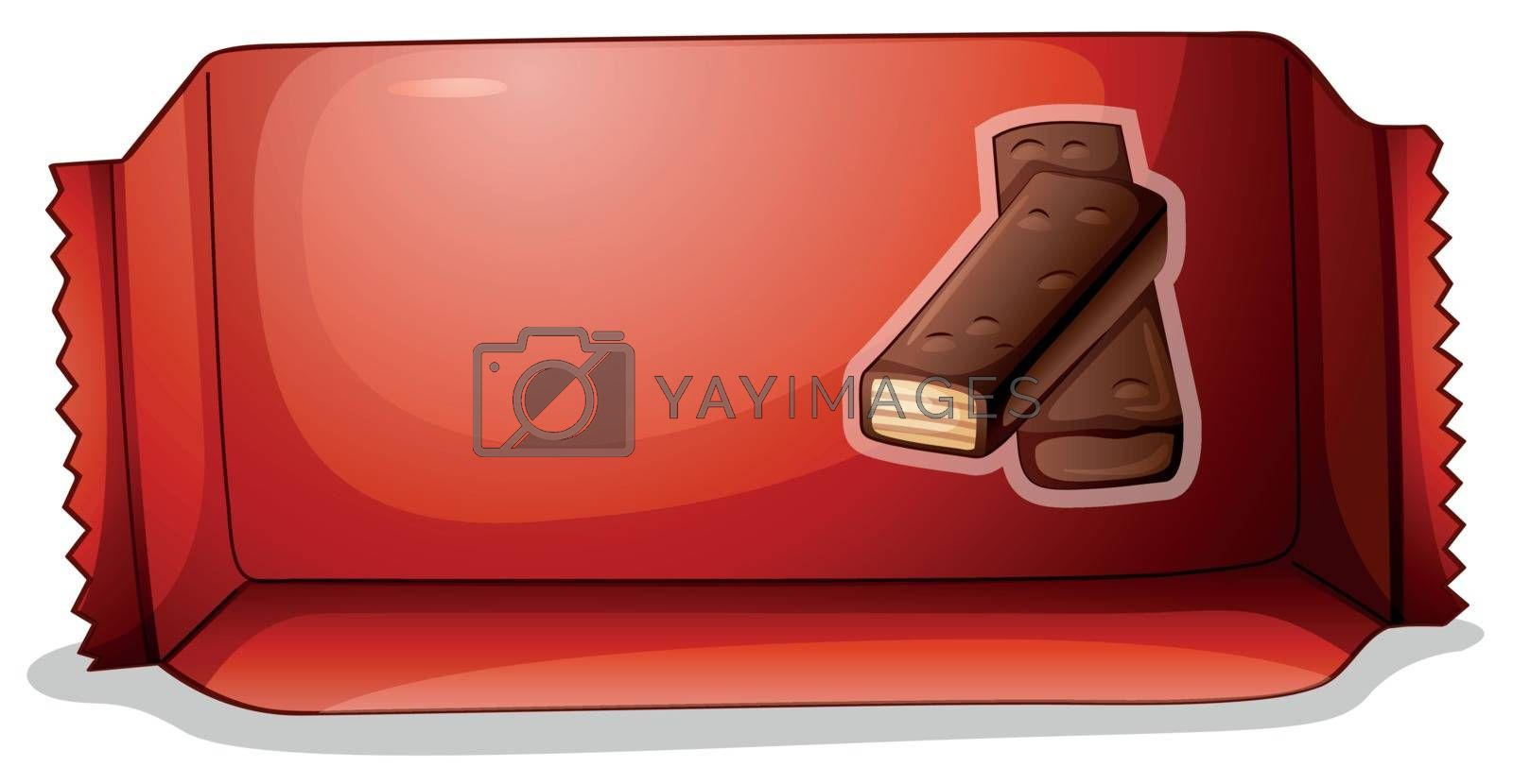 Illustration of a pack of chocolate on a white background