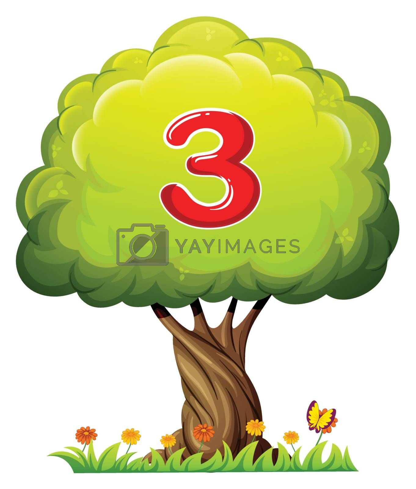 Illustration of a tree with a number three figure on a white background