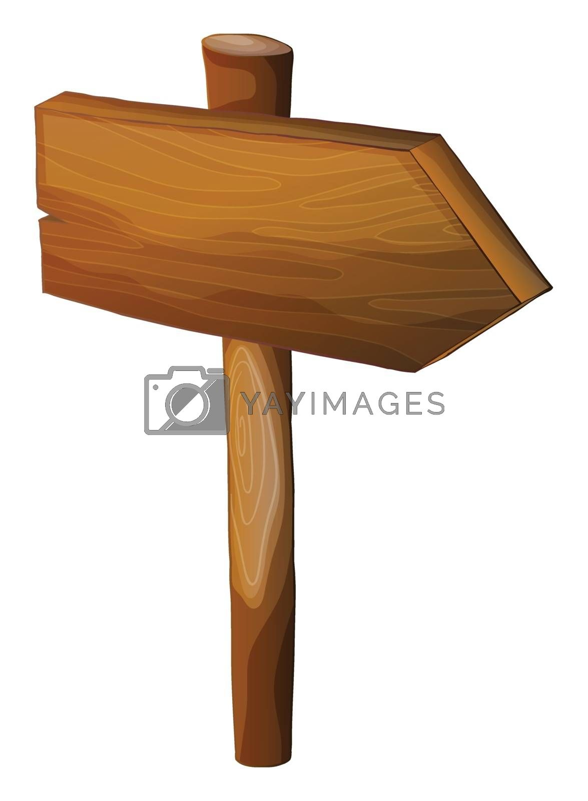 Illustration of a blank wooden arrow signboard on a white background