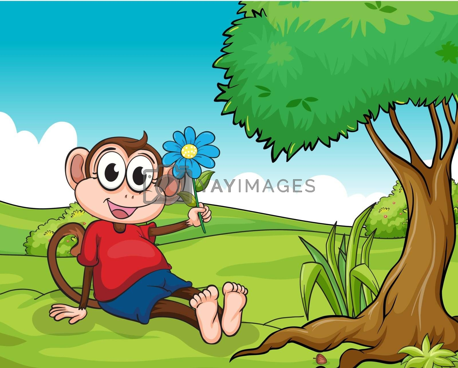 Illustration of a smiling monkey sitting under a tree