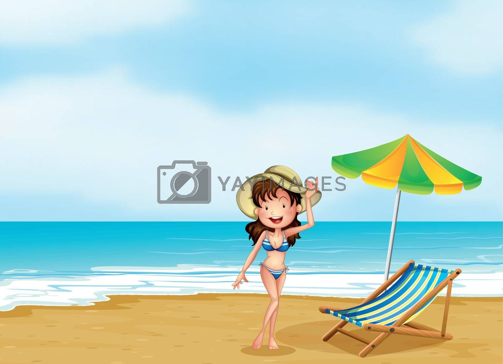Illustration of a woman at the beach with an umbrella and a chair