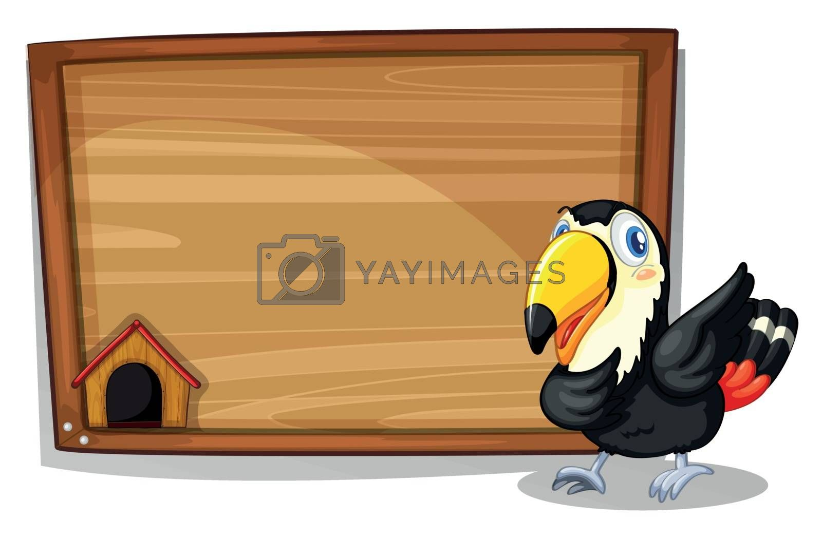 Illustration of a black bird beside a wooden blank board on a white background