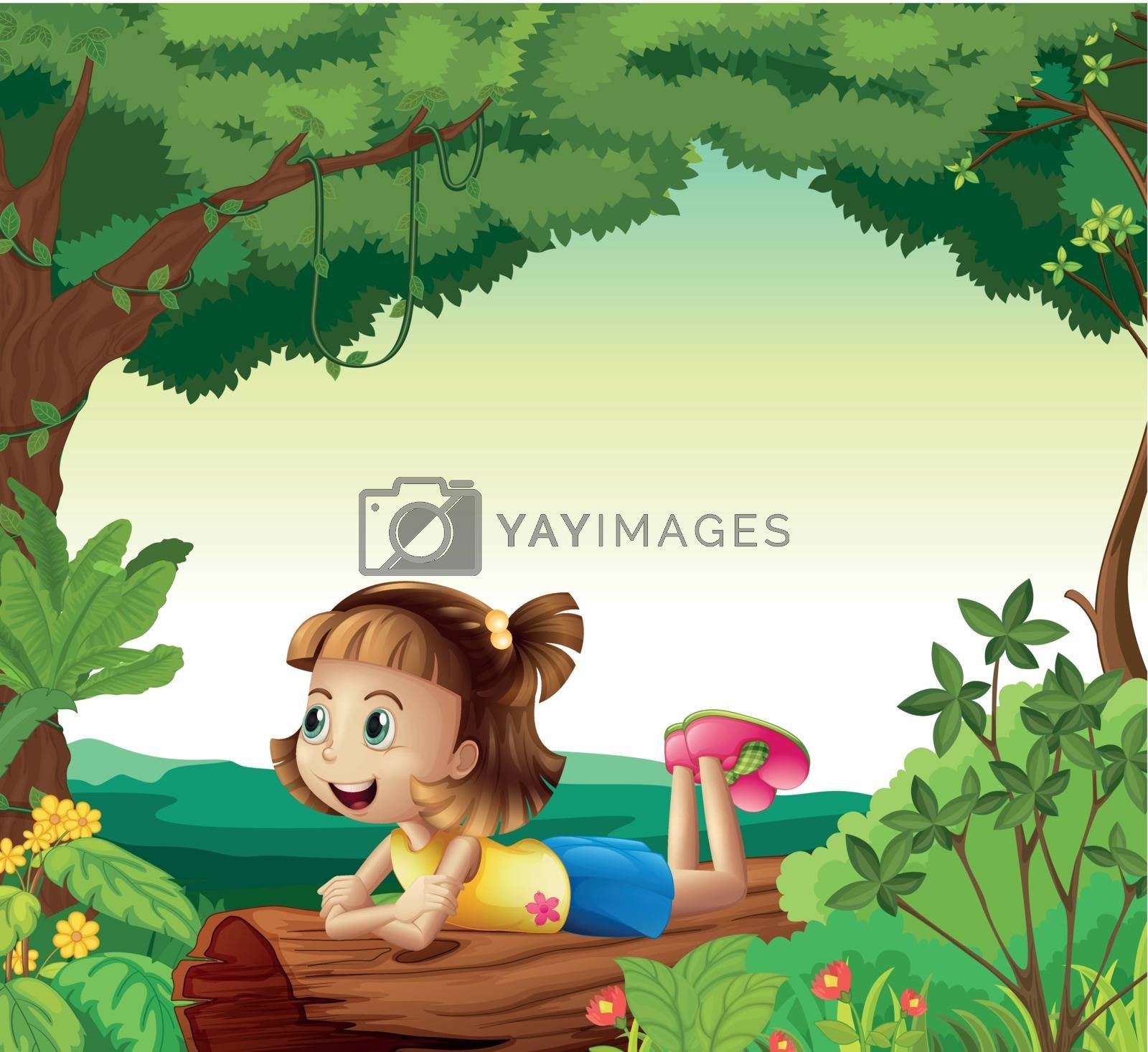 Illustration of a girl lying on a wood in a nature