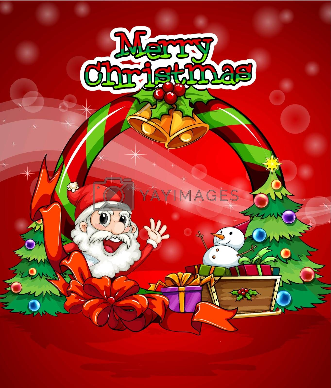 Illustration of a colorful christmas template with Santa Claus