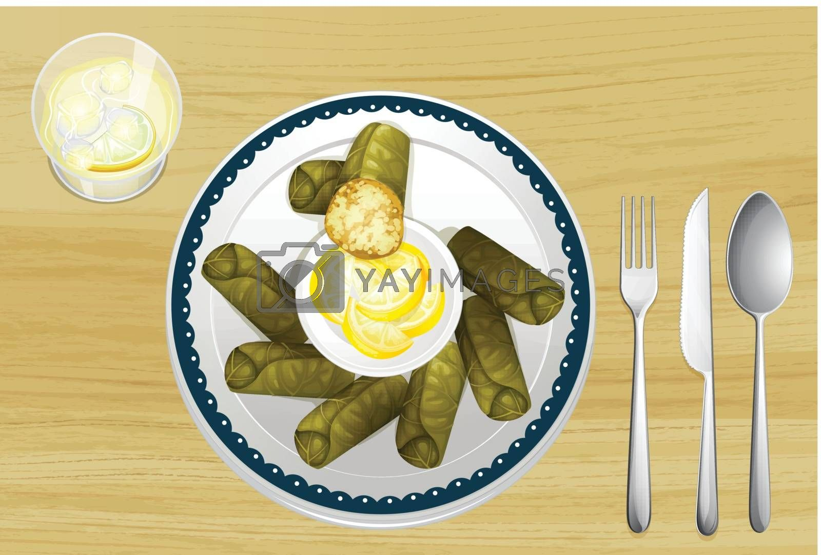 Illustration of a salad in a dish on a wooden background