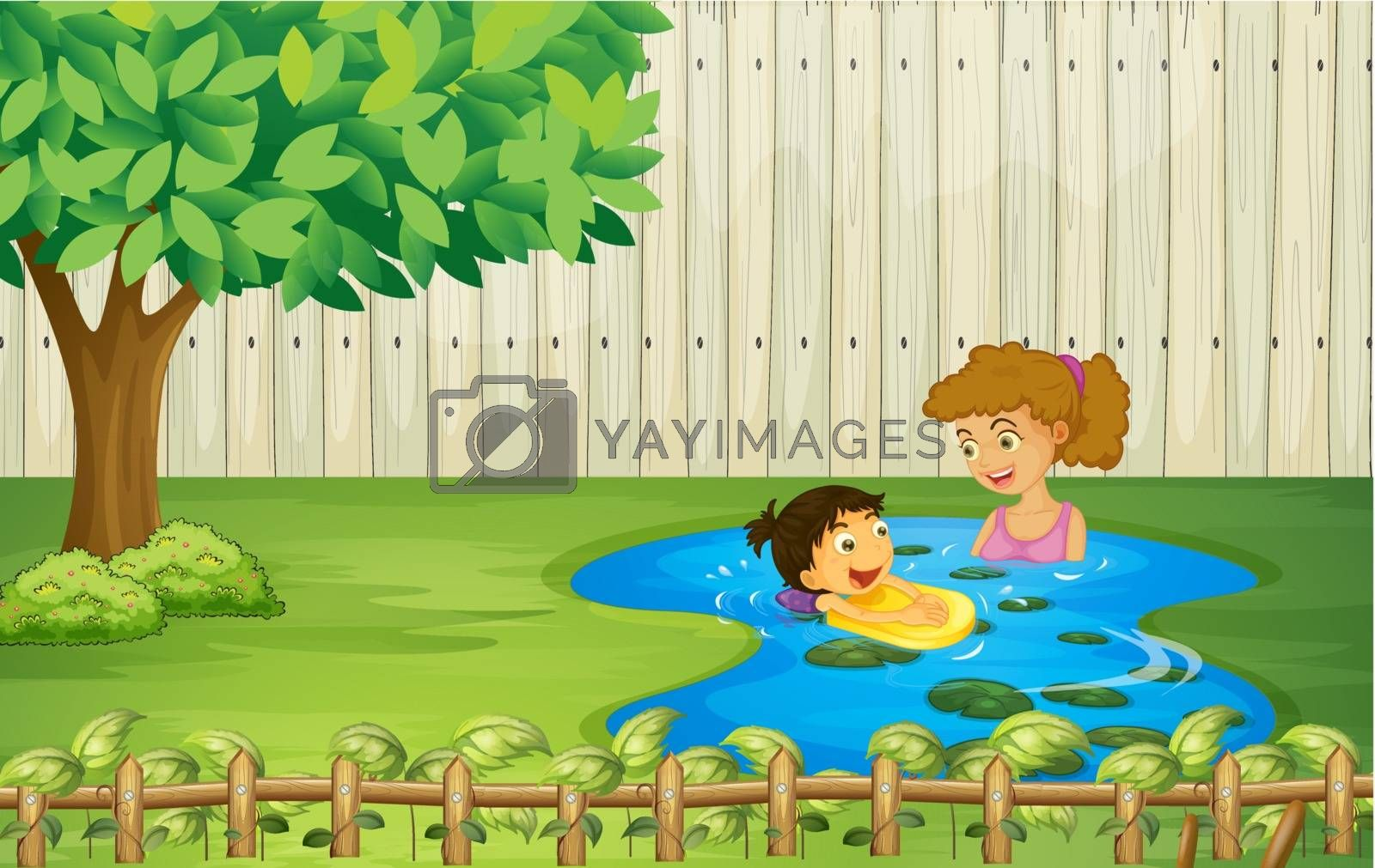 Illustration of kids swimming in a pond