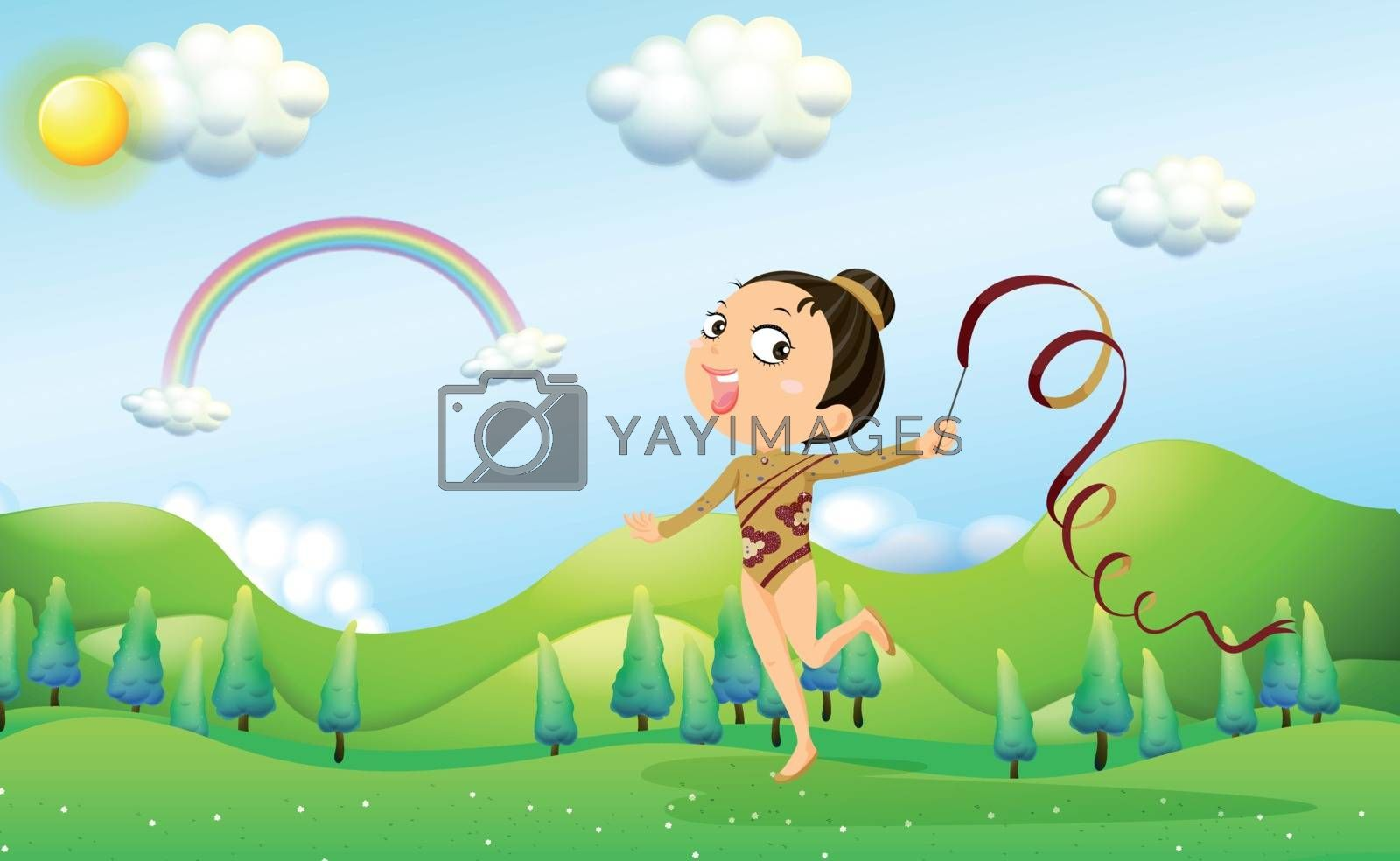 Illustration of a dancer bringing a stick with ribbon