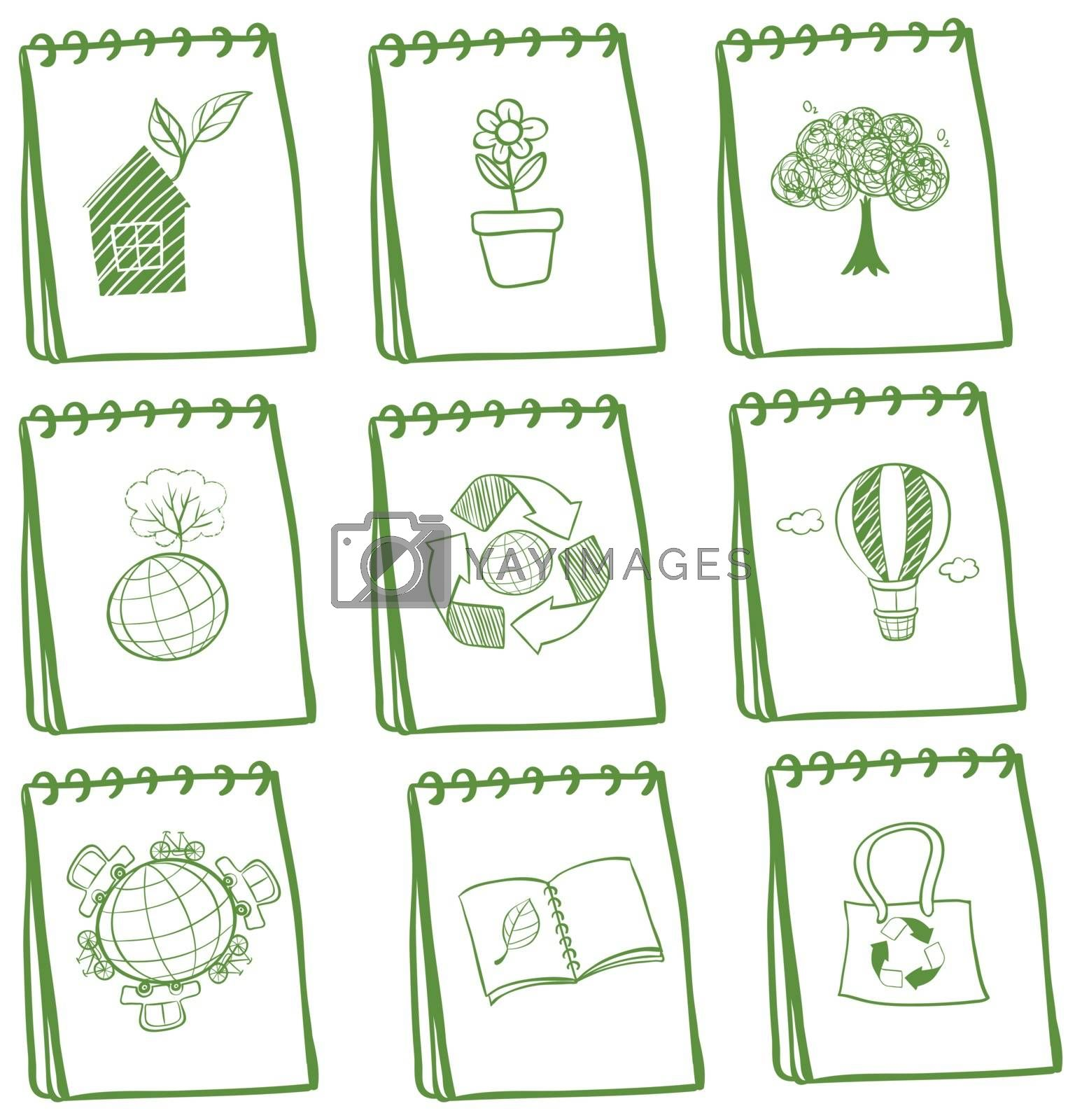 Illustration of the notebooks with eco-friendly drawings on a white background