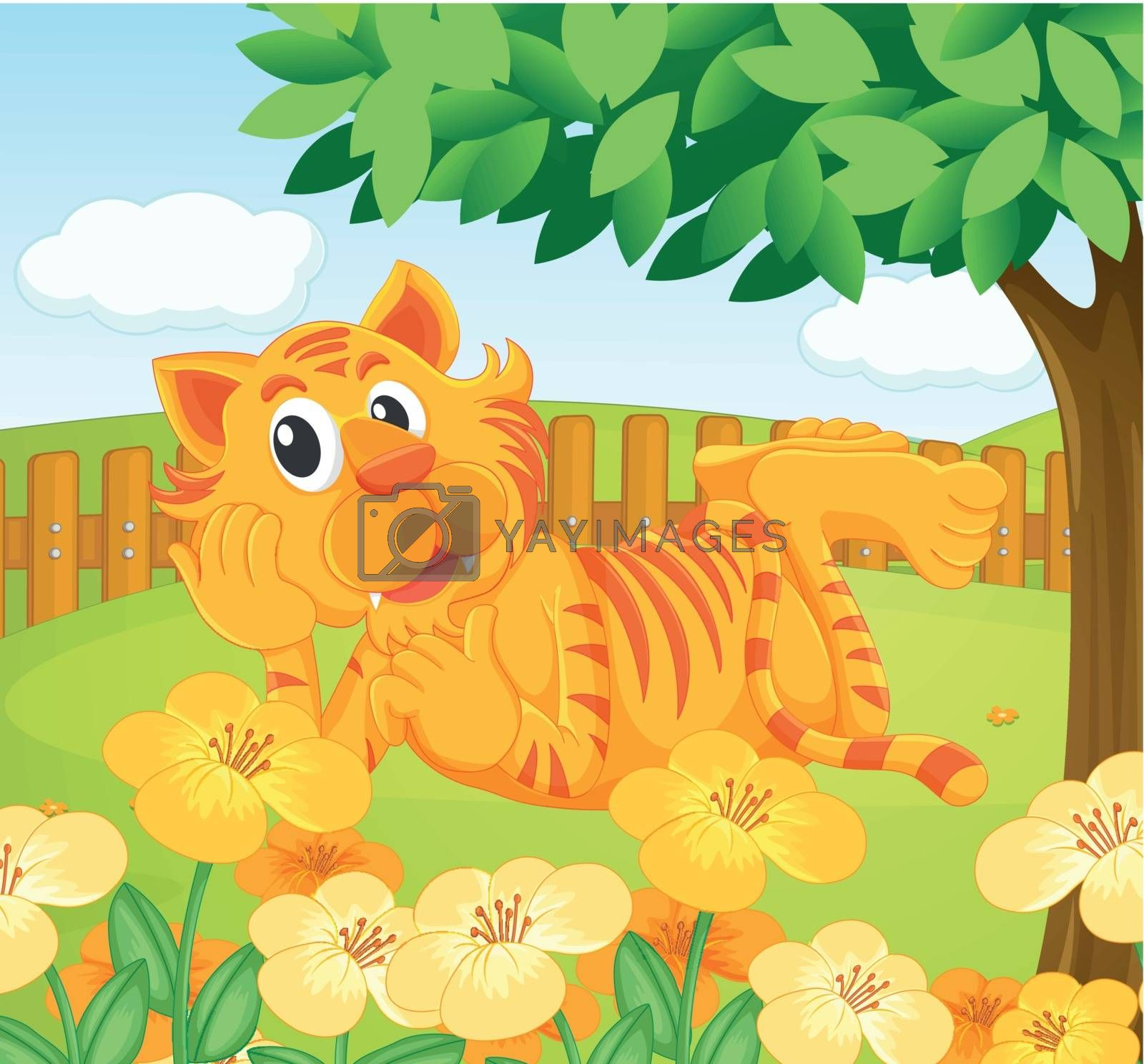 Illustration of a tiger in the fenced garden