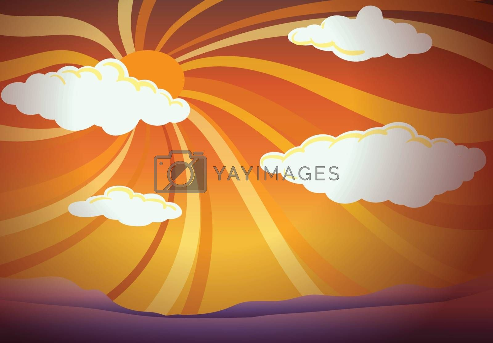Illustration of a sunset view with clouds