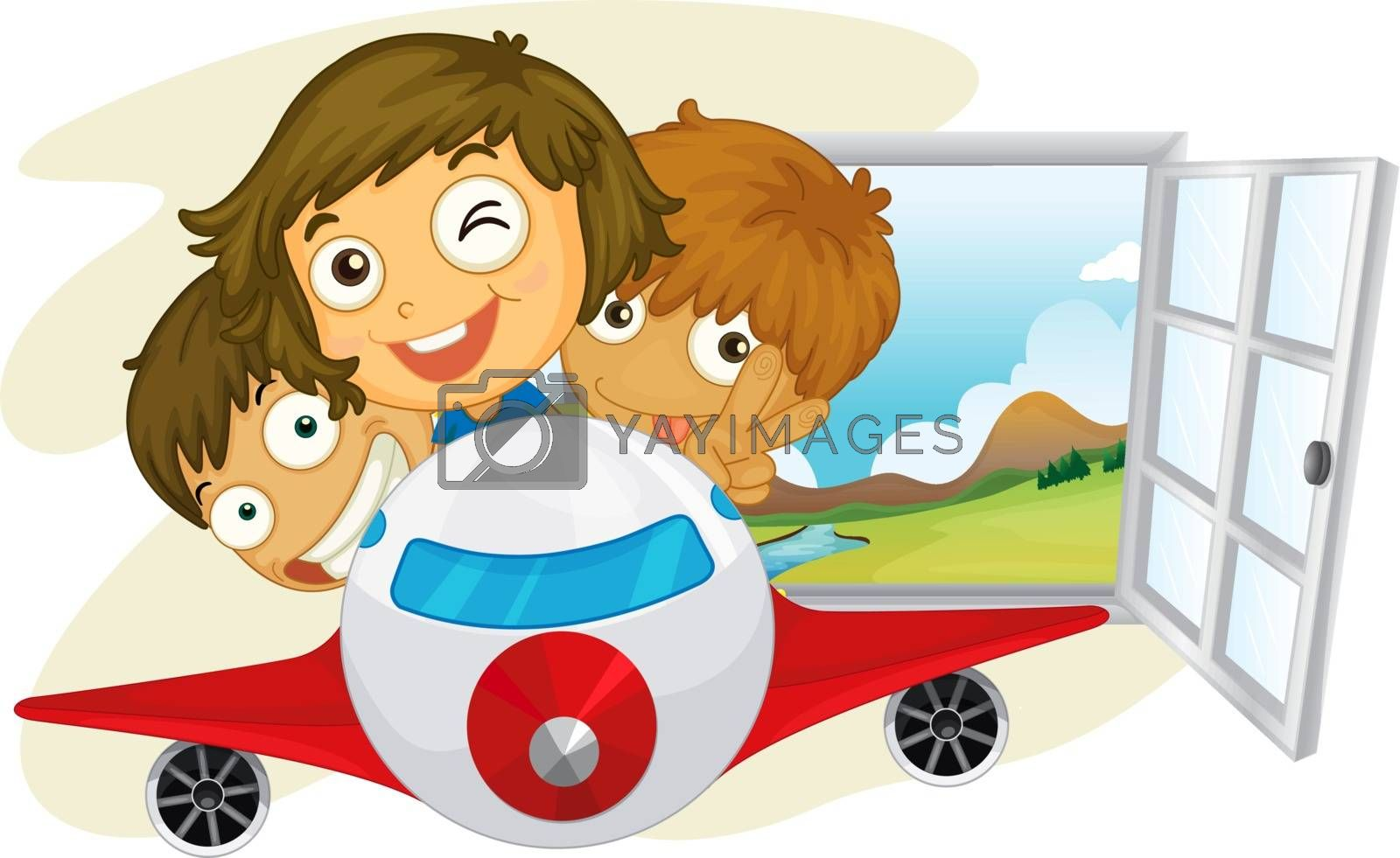 Illustration of the kids riding on an airplane on a white background