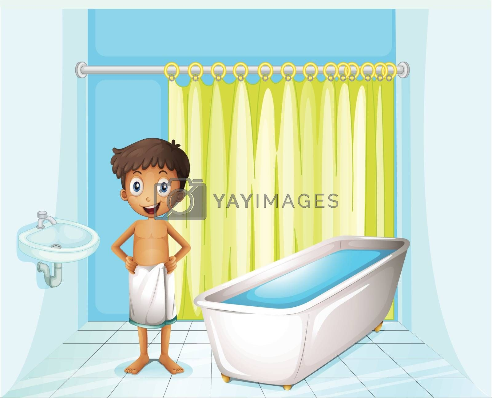 Illustration of a boy at the bathroom on a white background