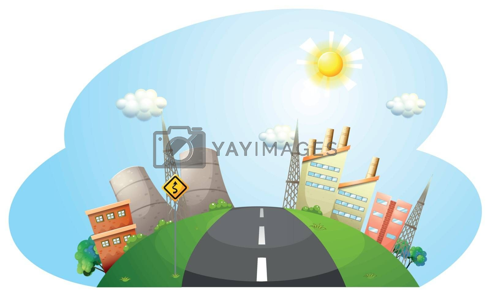 Illustration of a road going to the city with factories on a white backround