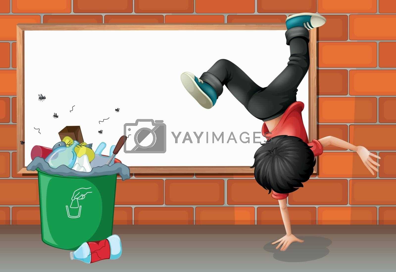 Illustration of a boy breakdancing near a trash can with an empty board