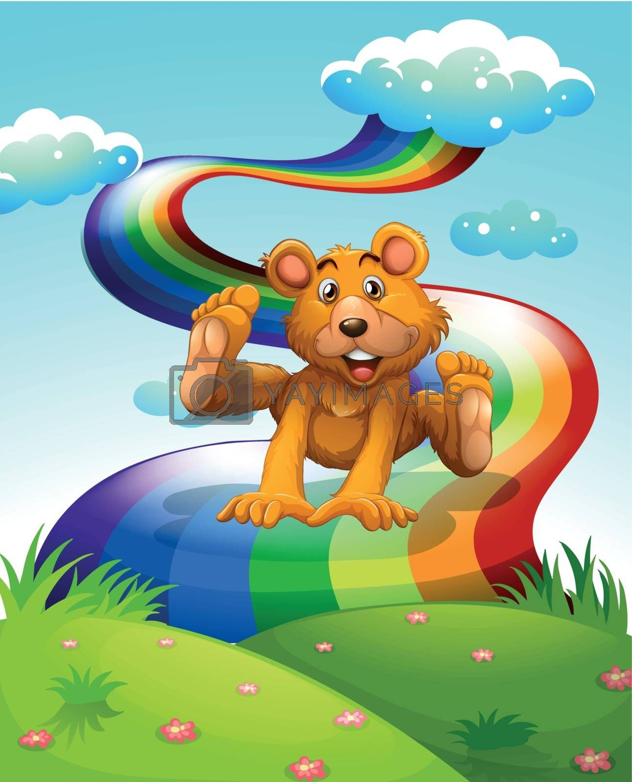 Illustration of a playful brown bear jumping near the rainbow