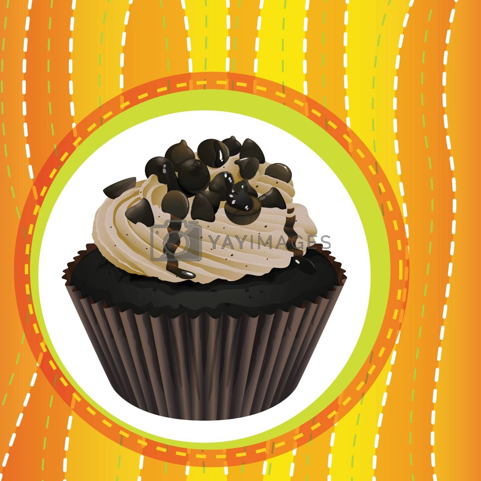 Illustration of an isolated cupcake and a wallpaper