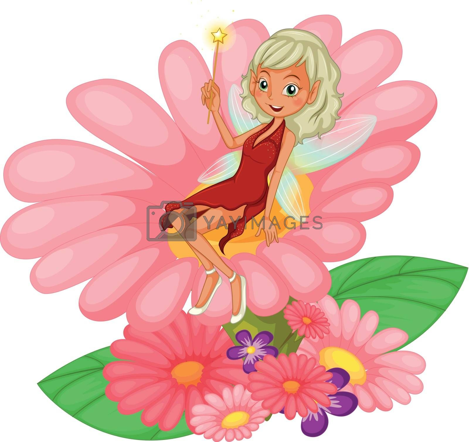 Illustration of a fairy sitting on a pink flower on a white background
