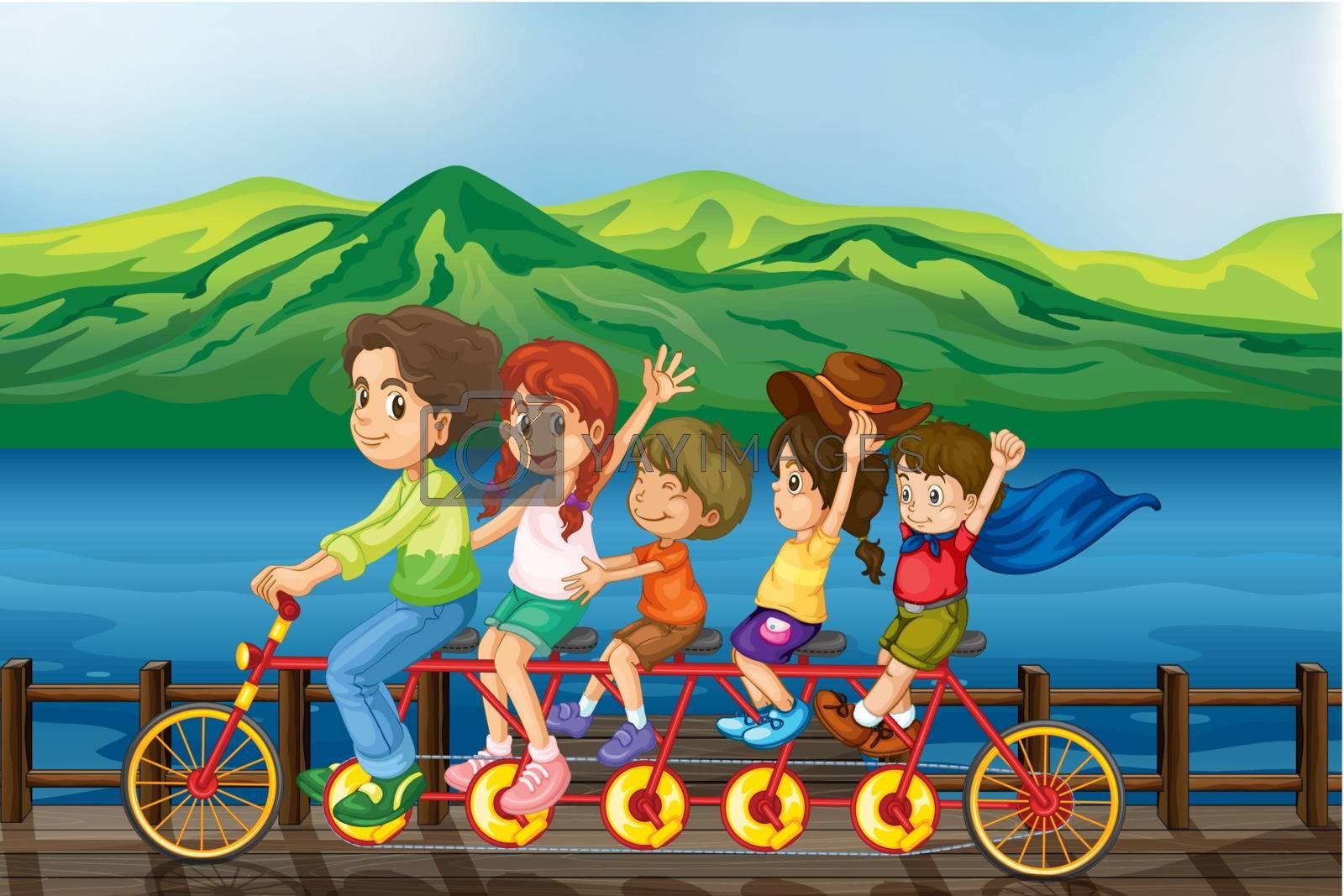 Illustration of kids biking at the bridge