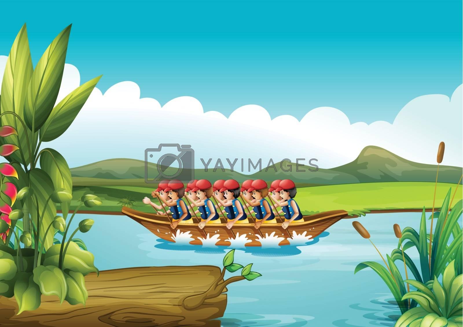 Illustration of a wooden boat full of men