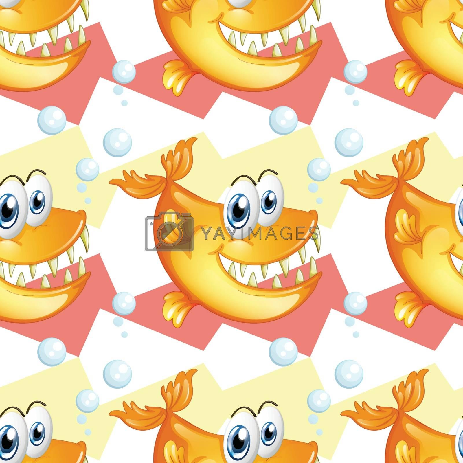 Illustration of the big smiling piranhas on a white background
