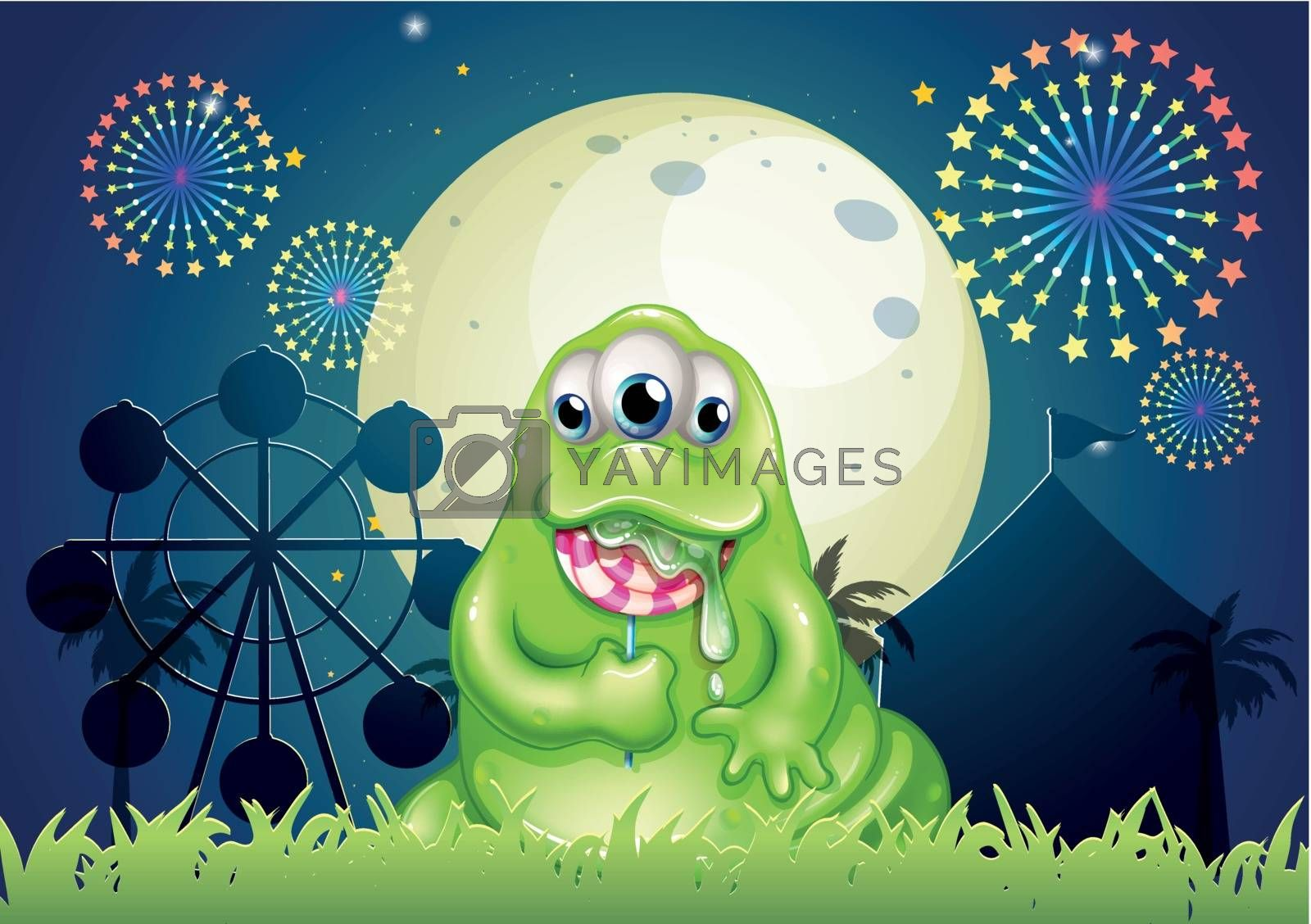 Illustration of a monster eating a lollipop at the amusement park