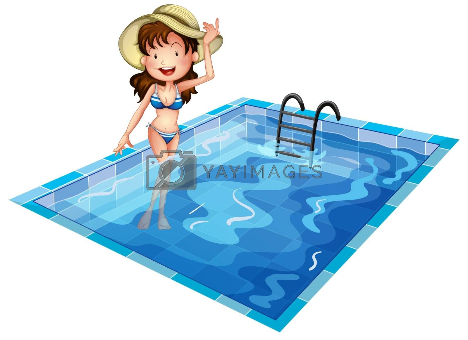 Illustration of a girl wearing a swimsuit at the pool on a white background