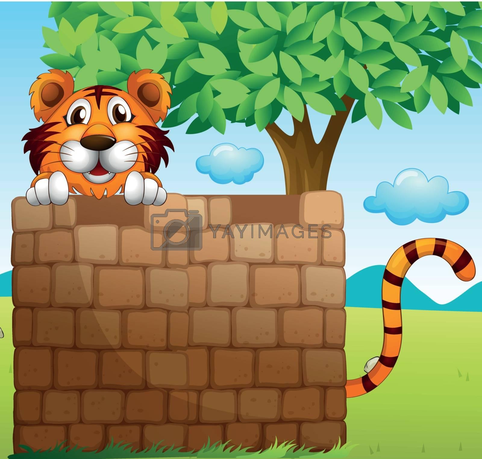 Illustration of a tiger hiding on a pile of bricks
