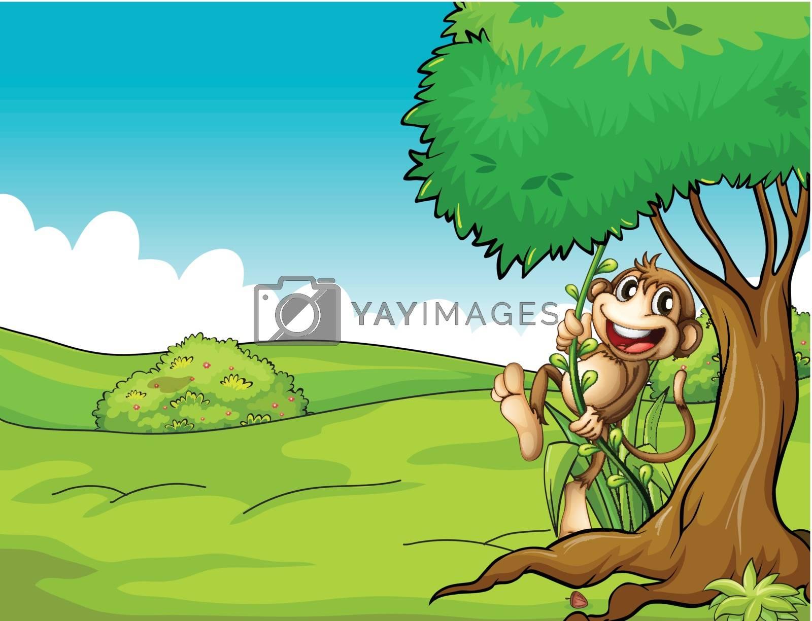 Illustration of a very happy monkey