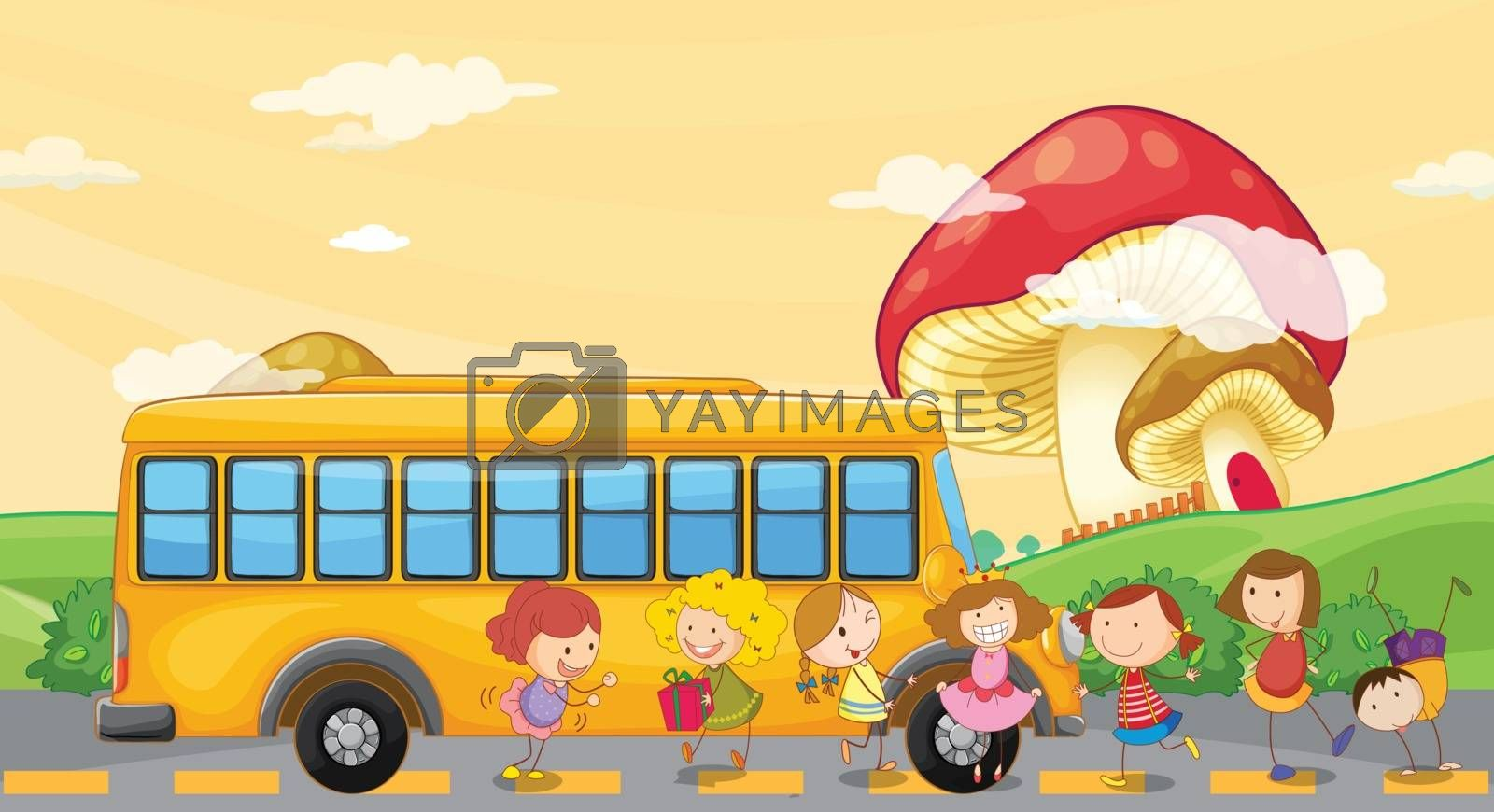 Illustration of the students playing near the school bus