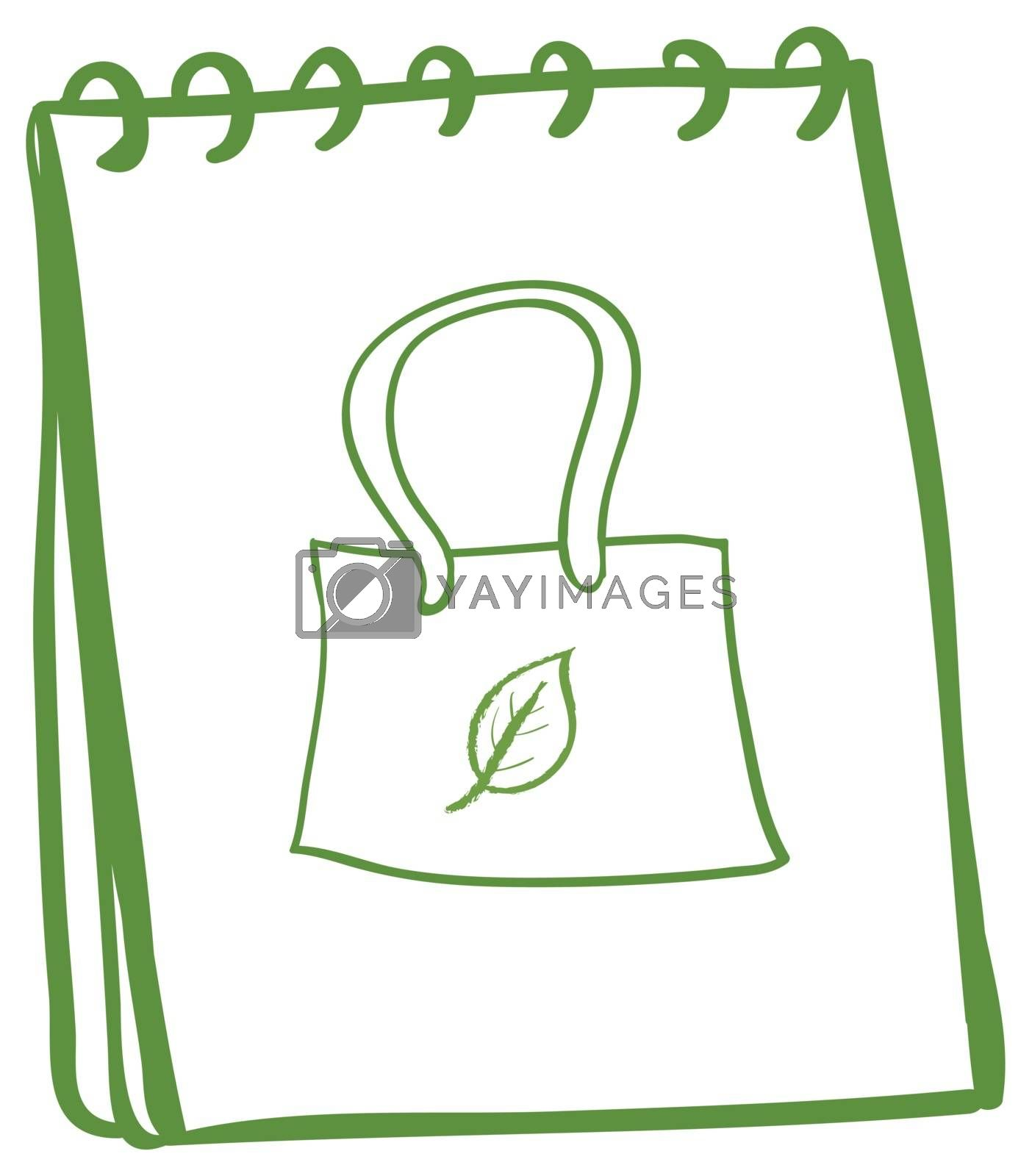 Illustration of a notebook with a sketch of a handbag at the cover page on a white background