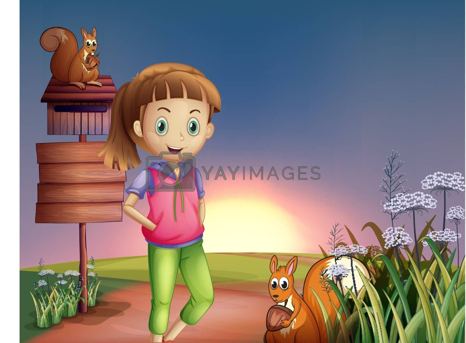 Illustration of a teenager at the hilltop with two squirrels