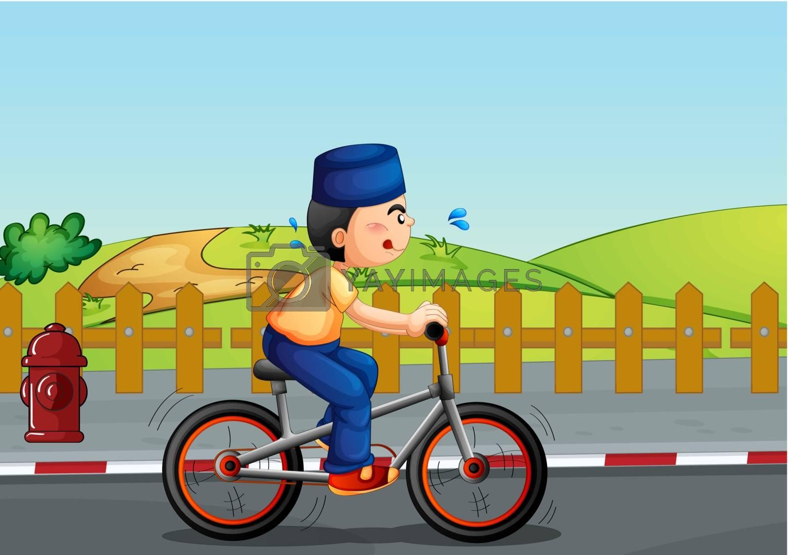 Illustration of a sweaty muslim riding on a bike