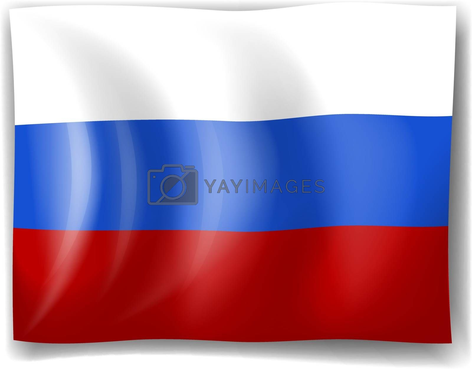 Illustration of the flag of Russia on a white background