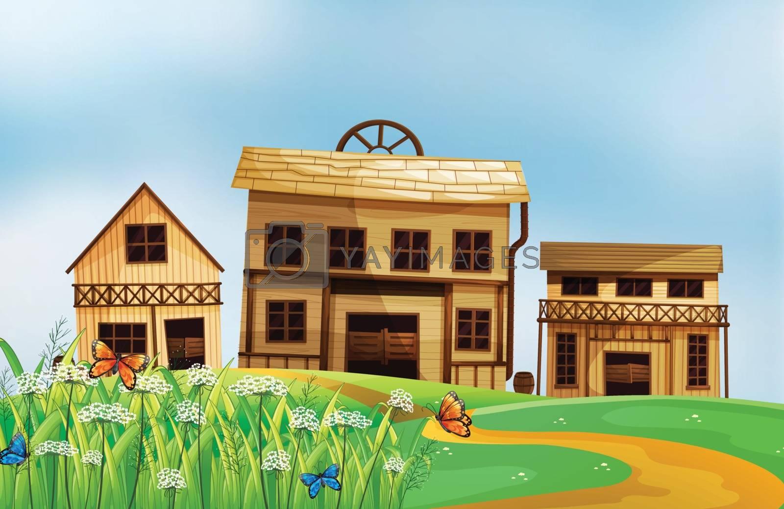 Illustration of houses in the neighborhood