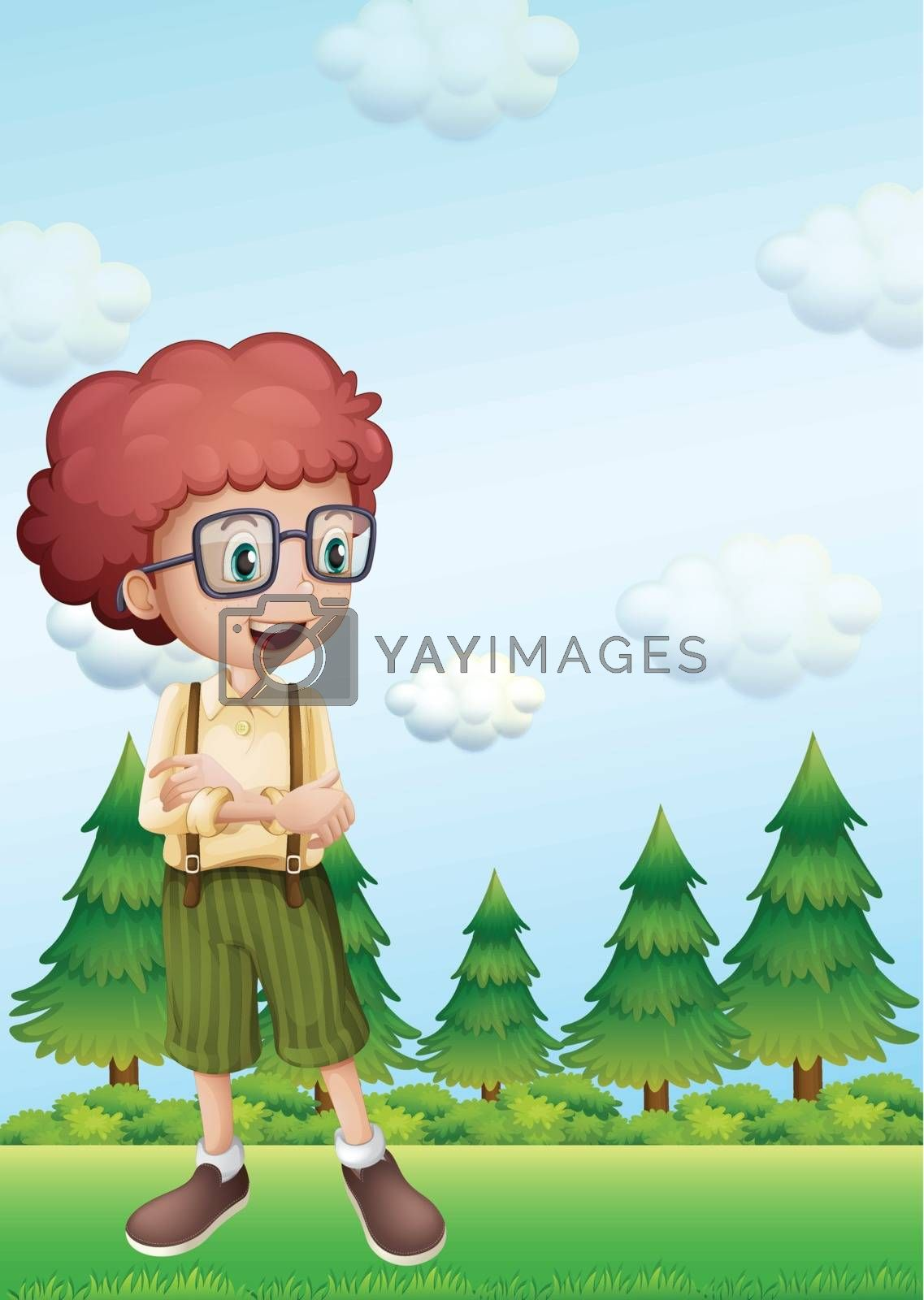 Illustration of a curly boy standing in front of the pine trees