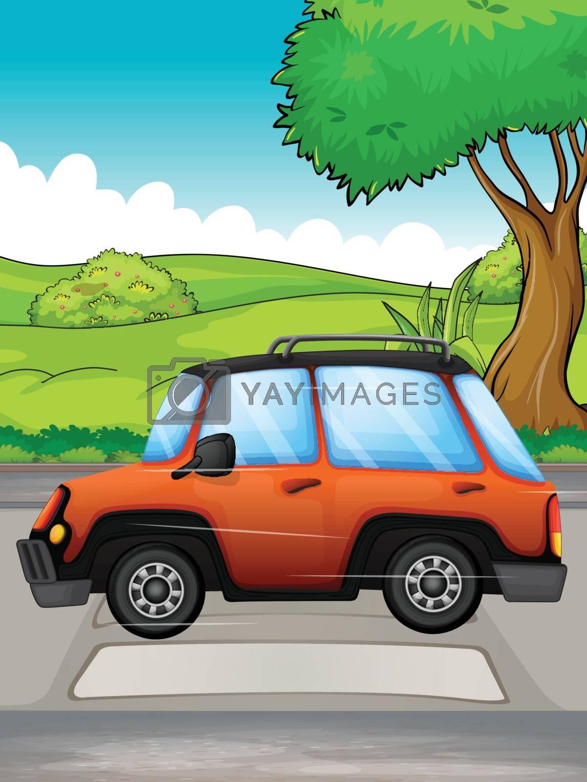 Illustration of a running car