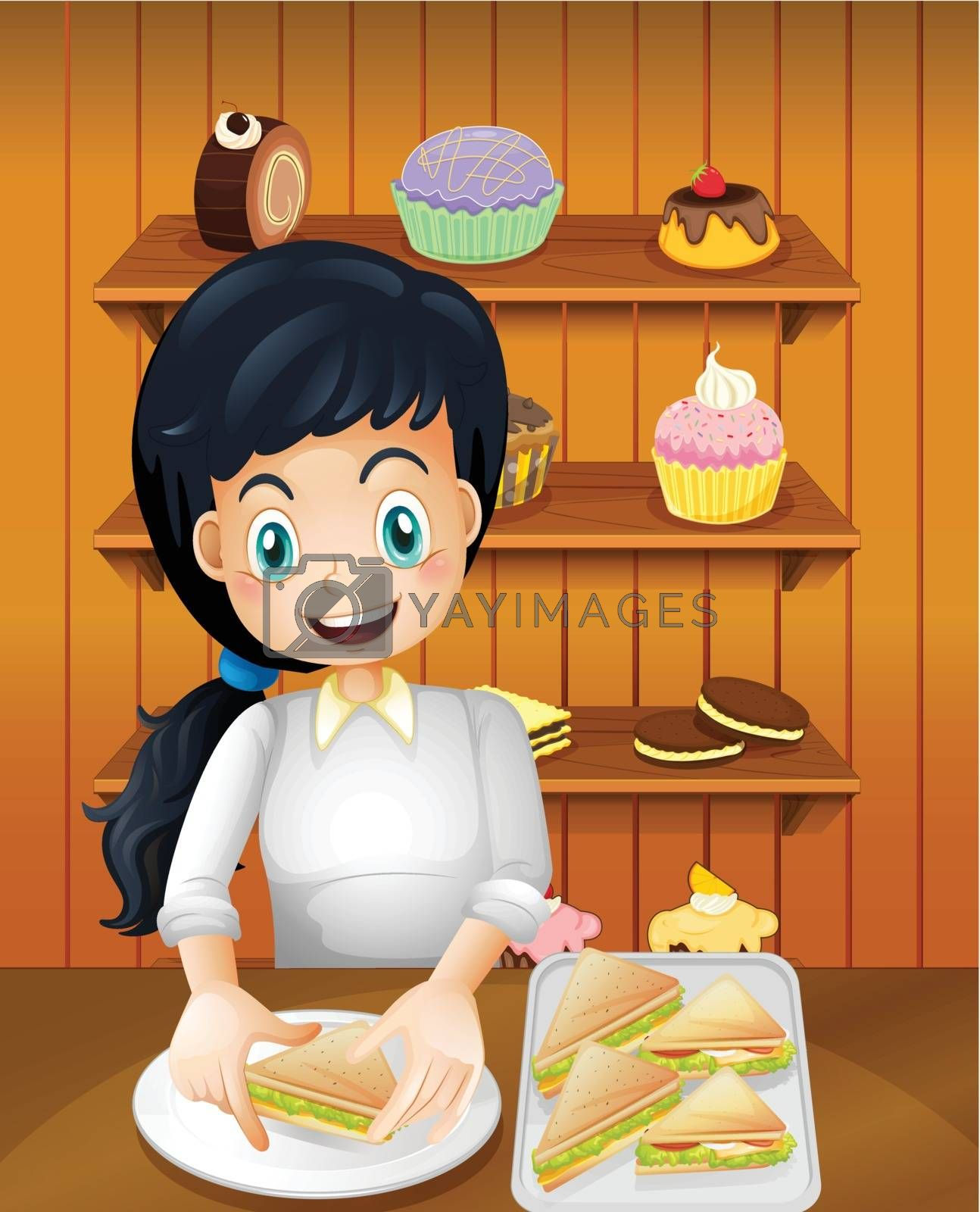 Illustration of a happy mother preparing sandwiches