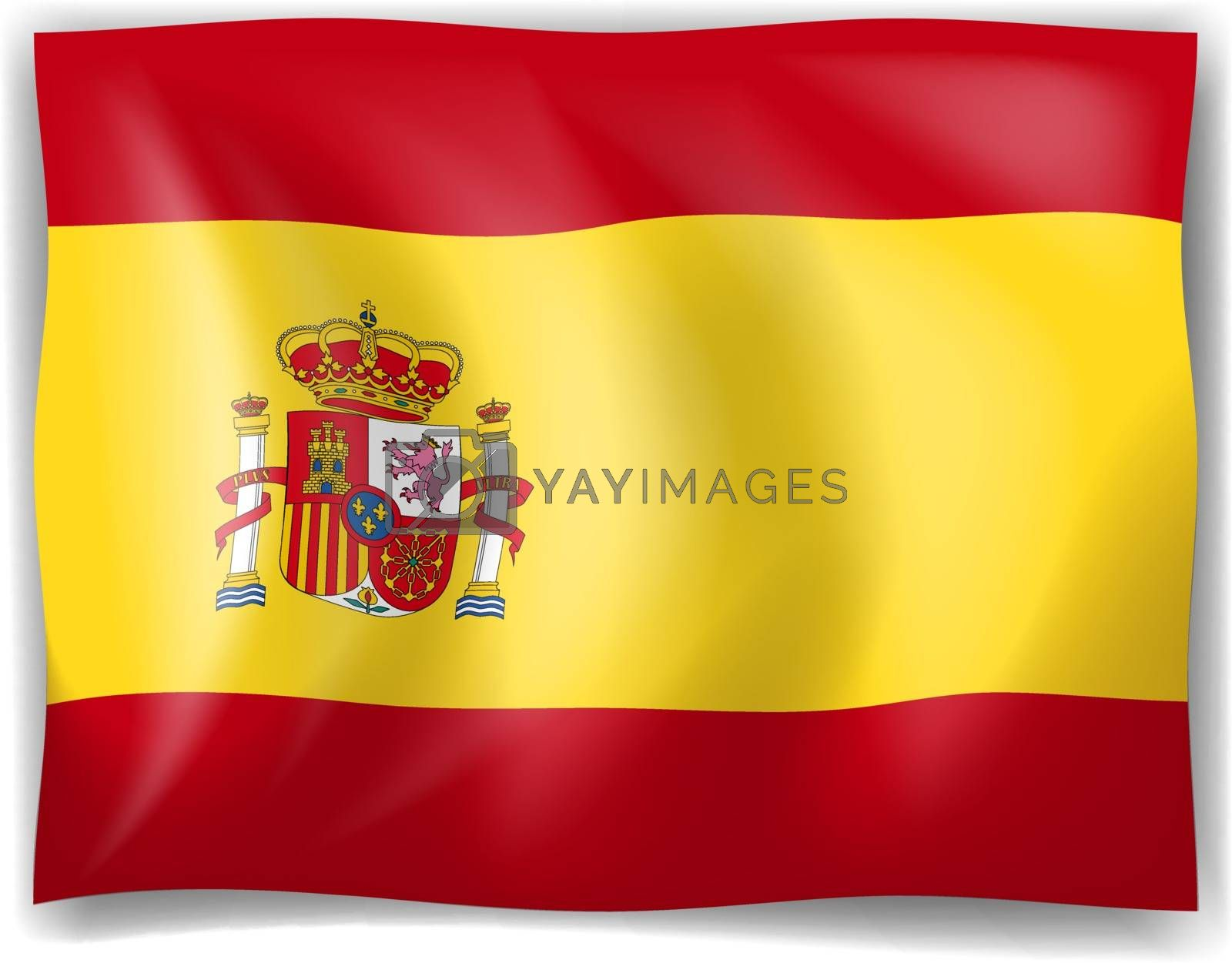 Illustration of the Flag of Spain on a white background