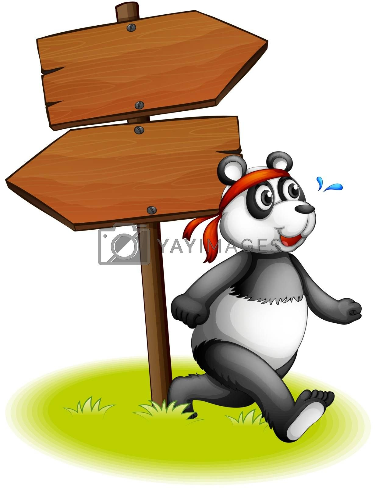 Illustration of a panda beside the wooden arrowboards on a white background