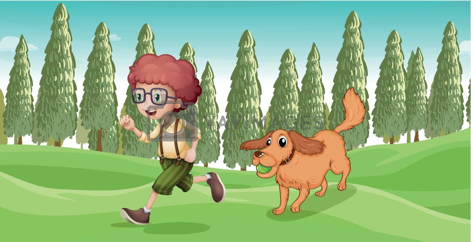 Illustration of a boy and his dog playing at the park