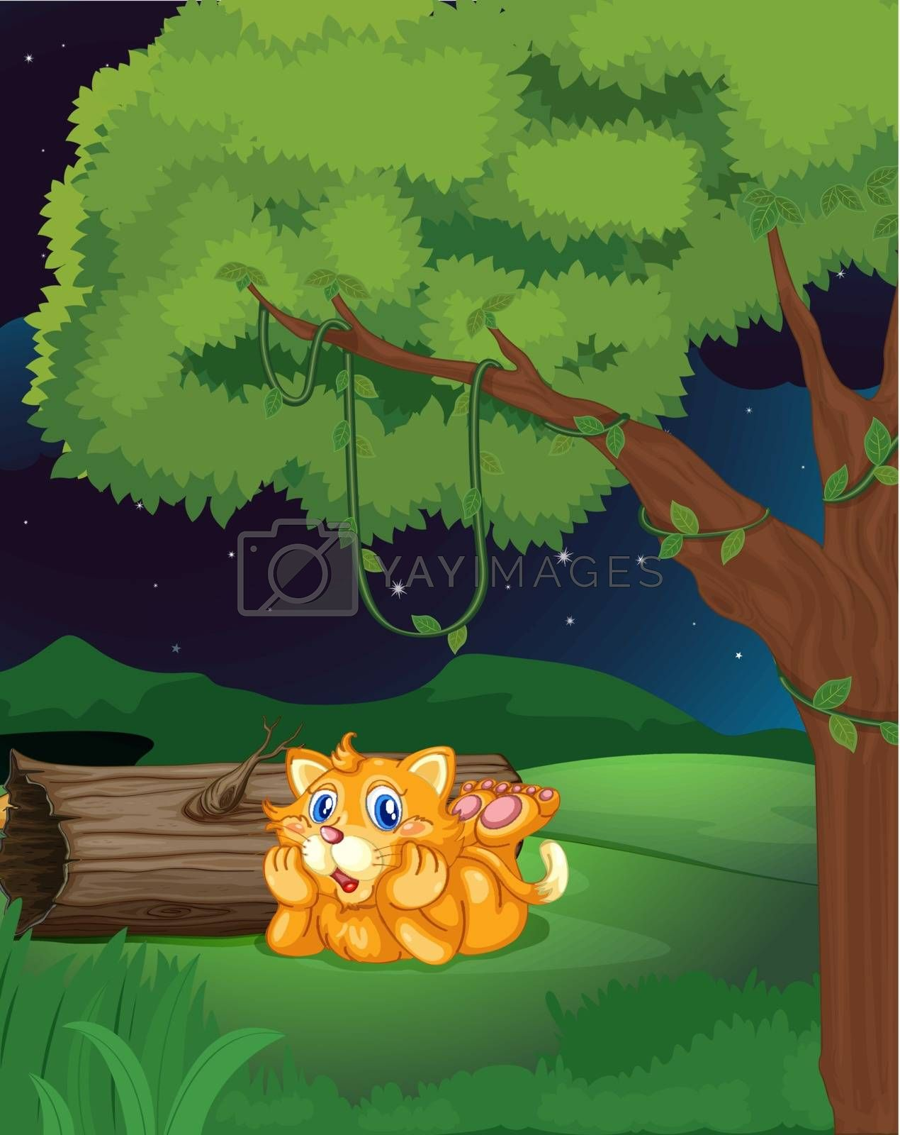 Illustration of a cat lying under a tree in a dark night