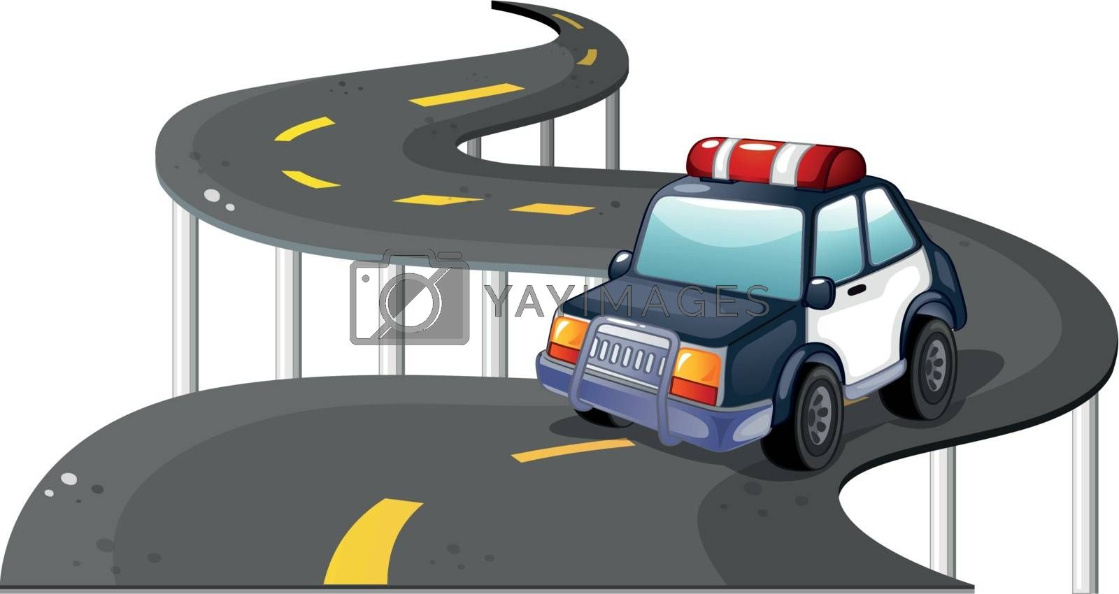 Illustration of a police car at the road on a white background