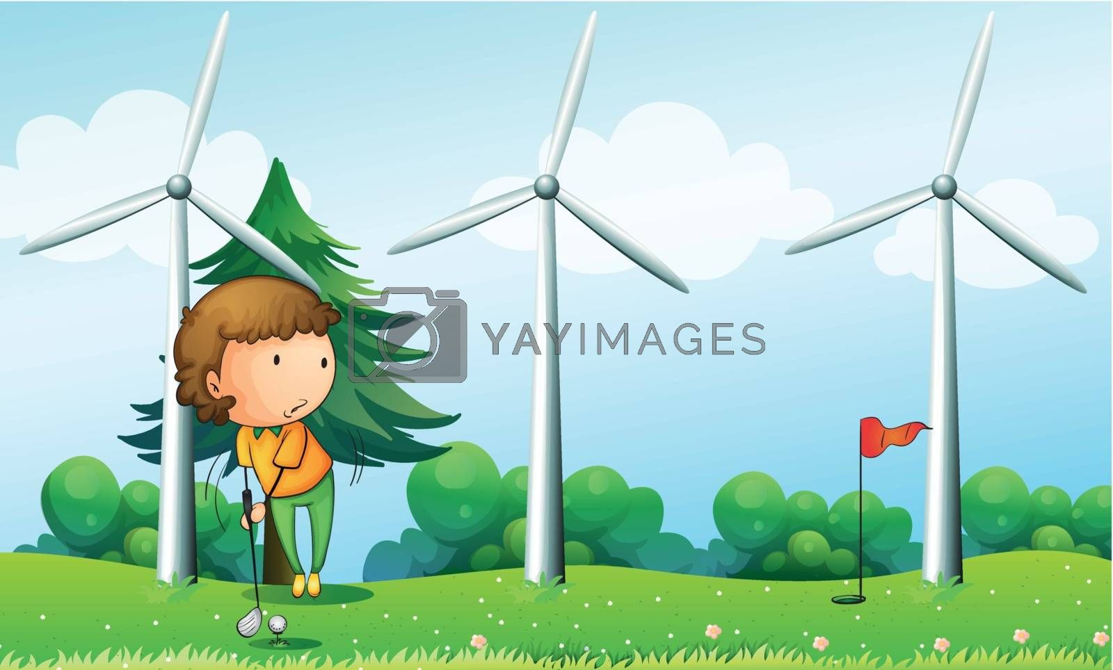 Illustration of a girl playing golf near the windmills