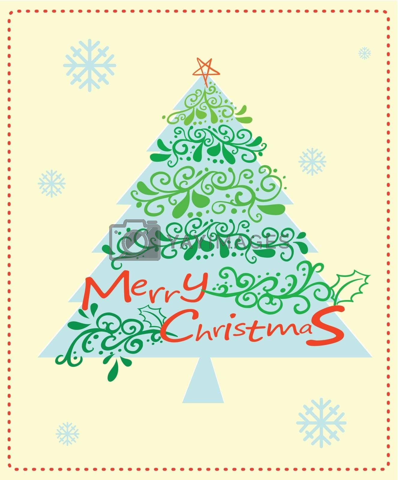 Illustration of a christmas card with a christmas tree