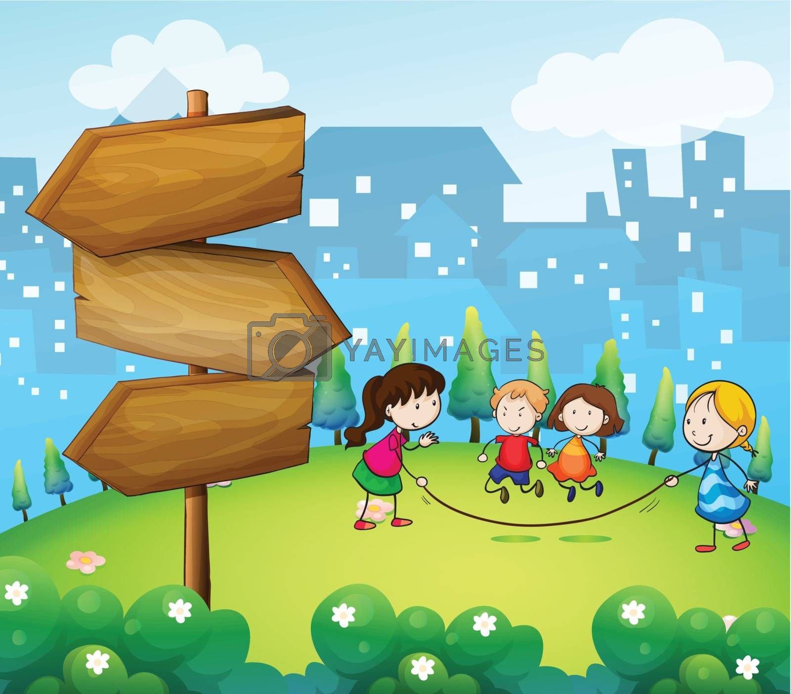 Illustration of the kids playing in the hills with a wooden signboard