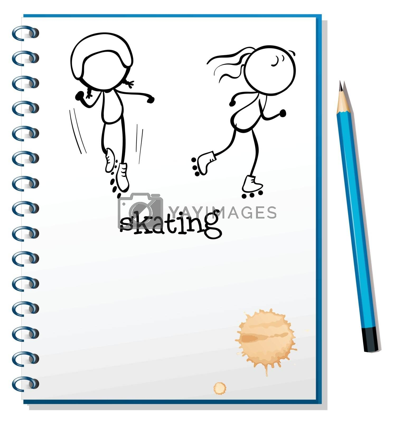Illustration of a notebook with a sketch of two people skating on a white background
