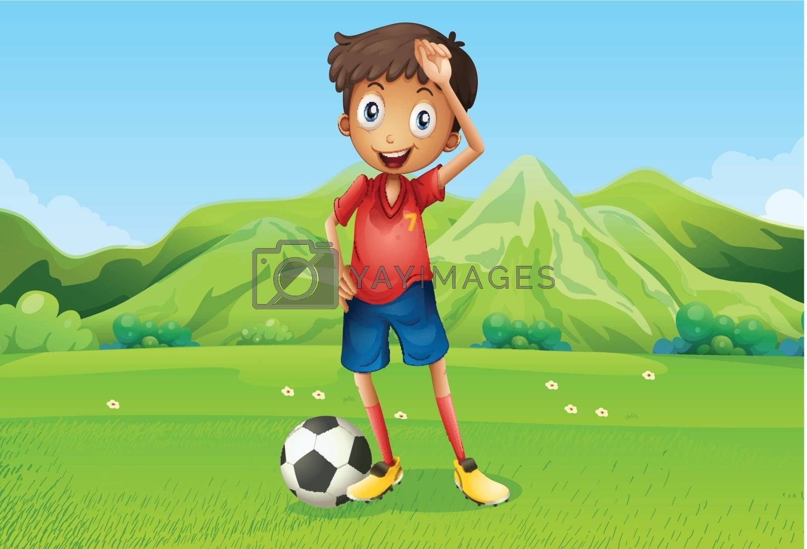Illustration of a football player at the field