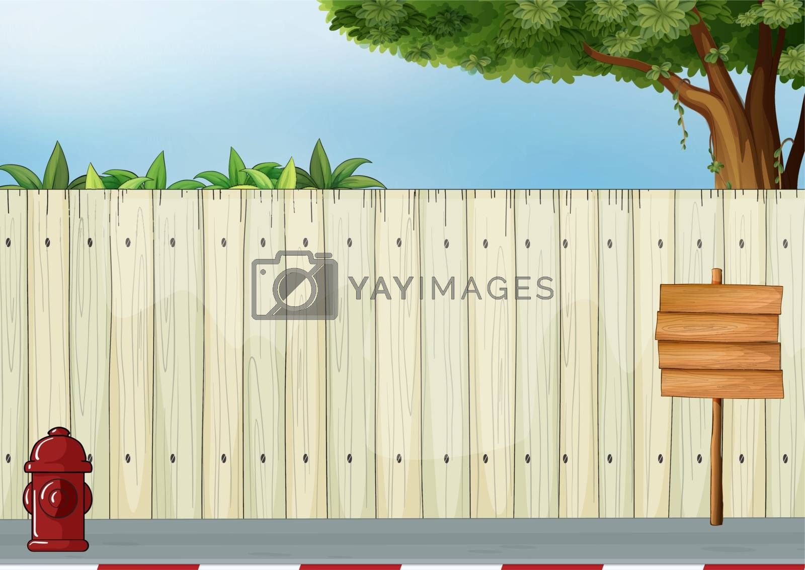 Illustration of a wooden signboard and the red hydrant