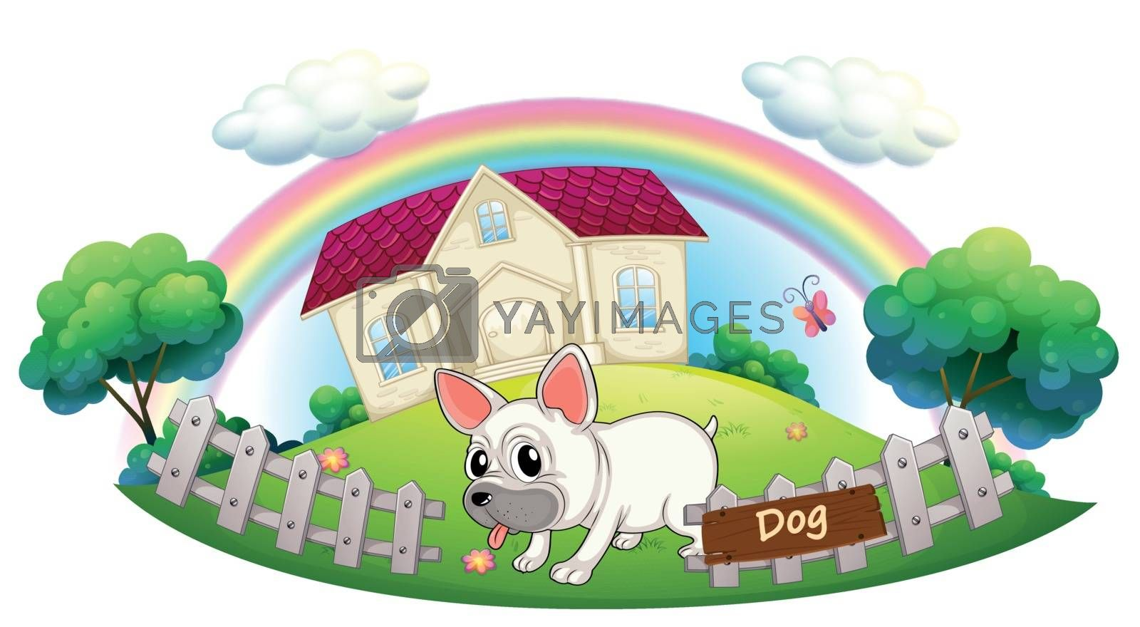 Illustration of a dog guarding a house on a white background