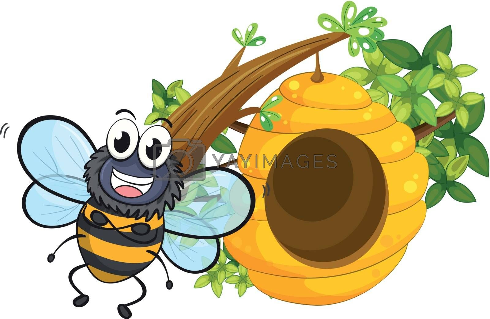 Illustration of a smiling bee beside its beehive on a white background